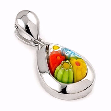 "Sterling Silver Glass Murano Millefiori Glass Pendant Multicolor Small Drop  (Free 18"" Chain)"