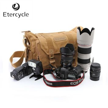 Professional DSLR Canvas Camera Bag Travel Photo Bag Single Shoulder Backpack for Sony Canon Nikon Olympus
