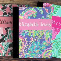Lilly Pulitzer Notebook, Personalized Notebook, Custom Padfolio, Lilly Inspired Notebook, Personalized Back to School, Lilly Inspired School