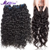 Maxine Hair 3 Bundles Brazilian Water Wave Human Hair With 4*4 Inch Lace Closure Bleached Knots Non Remy Hair Weave 4 Pcs/Lot