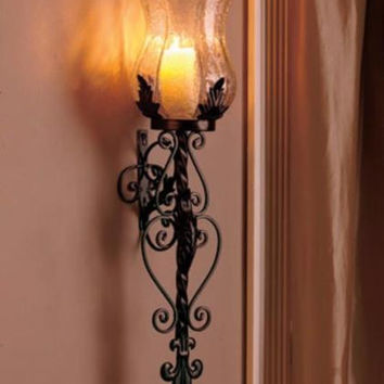 Hurricane Wall Lamp Large Black Metal Scroll Lantern Glass Candle Vintage Rustic