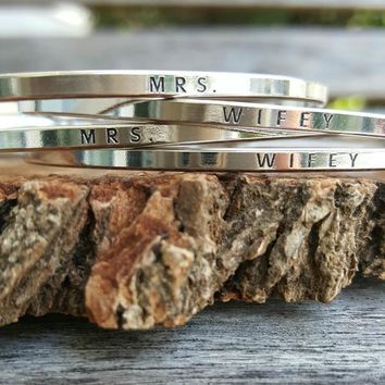 Thin Silver Message Bangles