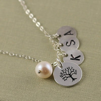 Family Tree Necklace, Three Initial Necklace, Sterling Silver monogram Necklace, Christmas Gift, Holiday Gift, Mothers Gift, Anniversary