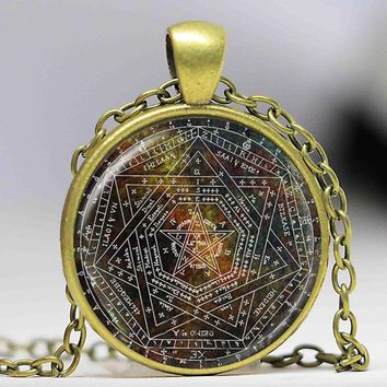 Sigil of Ameth Pendant,Vintage Pentagram Necklace Sacred Geometry Jewelry Glass Dome Pentacle Necklace Occult Wiccan Necklace