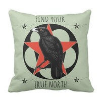 True North Crow Throw Pillow