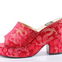 90s Vintage Red Satin Chinese Dragon Print Platform Sandals Club Kid Raver Chunky Slip On Shoes Womens Size US 8.5 UK 6.5 EUR 39