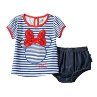 Disney's Minnie Mouse Striped Tunic & Bloomers Set - Baby Girl, Size: