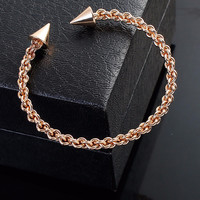 Gold + Silver Braided Arrowhead Tip Open Bangle Bracelet