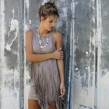 Sleeveless Tassels One Piece Dress [52171243546]