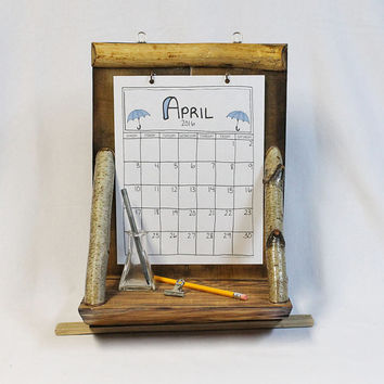 Rustic Wood Calendar Holder With Shelf, Recycled Wood, Calendar Holder, Reclaimed, Wood Calendar Holder, FREE Calendar - Your Choice