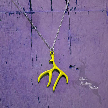 Sunshine Yellow Deer Antler Charm Necklace / Antler Necklaces