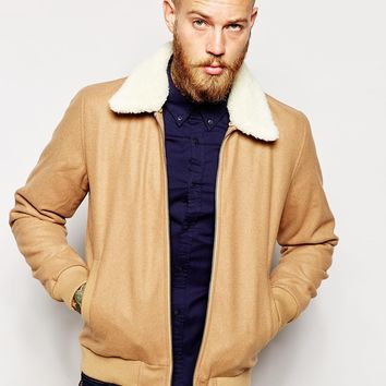 ASOS Wool Harrington Jacket With Faux Shearling Collar In Camel