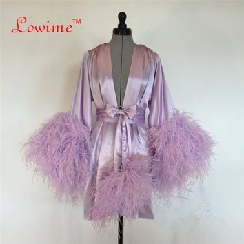 Satin Dressing Robe with Feather Trim
