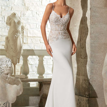 Sexy Chiffon Wedding Dress 2015 Spaghetti Straps Backless Appliqued Beaded Bridal Dresses Vestidos De Novia Nova Bridal PB81