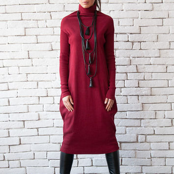 Comfortable Long Dress/Extravagant Wine Polo Dress/Oversize Loose tunic/Burgundy Long Sleeve Shirt/Dark Red Casual Dress/Bordeaux Tunic Top