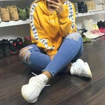 VXL8HQ Adidas Originals Tnt Tape Pullover Hoodie In Yellow