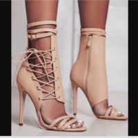 The new hot seller is ultra-high heel Roman strappy sandals