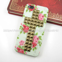 iphone 5 Hard case,Cross Antique Bronze studded iphone 5 case, Flower Rose floral stud studs pyramid hard cover skin case for iphone 5 case