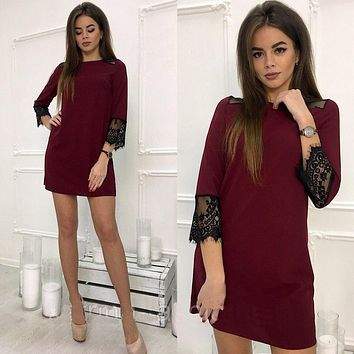 Women Lace Patchwork dress 2018 New Summer O-Neck 3/4 Sleeve Beach Party Casual Loose Wine red Green dress Vestidos Plus size