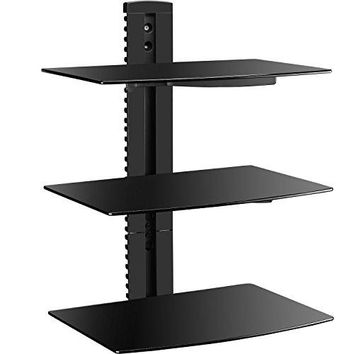 WALI Floating Wall Mounted Shelf with Strengthened Tempered Glasses for DVD Players/Cable Boxes/Games Consoles/TV Accessories (CS303), 3 Shelf, Black
