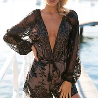 New Chiffon Black Overalls Sexy Deep V Neck Playsuits Women Jumpsuit Romper Long Sleeve Drawstring One Piece