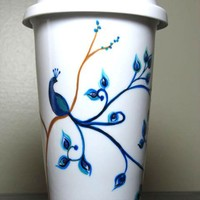Travel Coffee Mug Painted Cup with Lid Peacock Eco-Friendly
