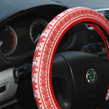 Red elephants steering wheel cover Steering wheel decor Elephants wheel cover Car accessories for woman Red car decor Steering wheel Gifts