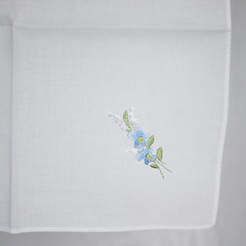 Vintage Bridal Handkerchief with Floral Embroidery, Lily of the Valley Embroidered Blue Flowers Ladies Wedding Hankie White, Something Blue