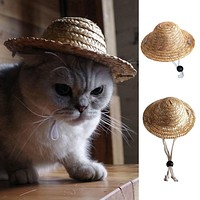Novelty Summer Adjustable Pet Dog Outdoor Straw Hat Puppy Small Cat Sunhats