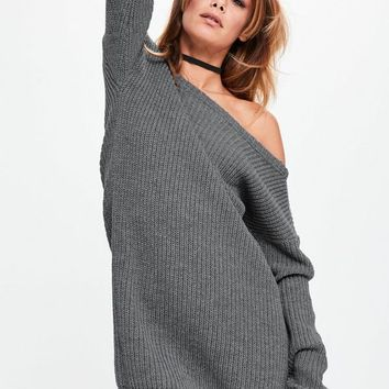 Missguided - Grey off Shoulder Knitted Sweater Dress