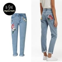 Embroidery Mom Jeans Flower Denim Jeans Boyfriend For Women Bleached Ladies Trousers