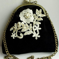 Black velvet Crossbody purse clutch with lace and pearls applique