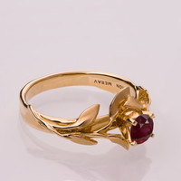 Leaves Engagement Ring No.4 - 14K Gold and Ruby engagement ring, engagement ring, leaf ring, filigree, antique, art nouveau, vintage