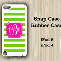 Pink Green Stripes Monogram iPod Touch 5 and iPod Touch 4 Rubber Case or Plastic Case