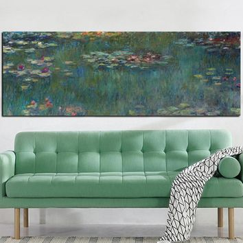 YWDECOR Sale Print Claude Monet Oil Painting Lotus Oil Painting on Canvas Impressionist Wall Art Picture Poster for Living Room