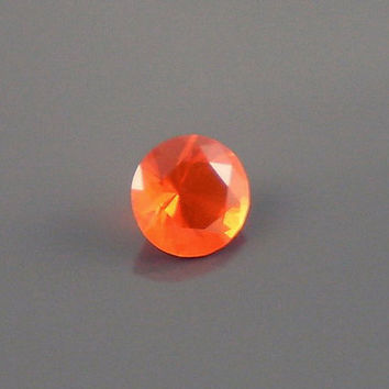 Fire Opal: 0.83ct Red Orange Round Shape Gemstone, Loose Natural Hand Made Mexican Faceted Precious Gem, OOAK Cut Crystal Jewelry Supply R2