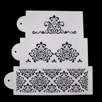 Cool 3PCS Cake Biscuit Stencil Bakery Tool Fondant Mold Crown King Princess Queen Bakeware Baking Fondant Cake Stencil Template MoldAT_93_12