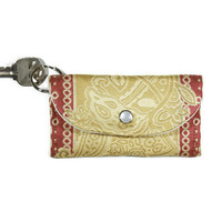 Keychain Wallet in Gold and Rose, Paisley Cardholder Key Ring, Dorm Room Key Chain, ID Card Holder with Free shipping