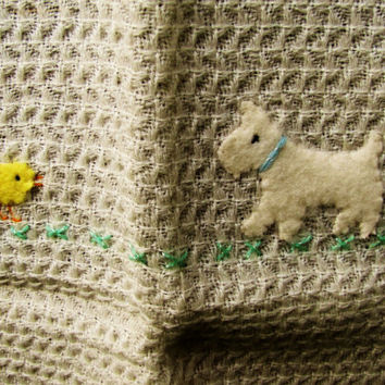 vintage baby blanket. Madeira Art Shop. Importers. Buffalo, NY. baby blanket wall hanging. dead stock