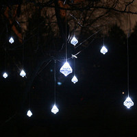 Faceted Crystal Solar String Lights