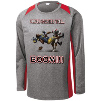 Ohio State Buckeyes vs Michigan Wolverines - Here Comes The Boom Long Sleeve Heather Colorblock Poly T-shirt