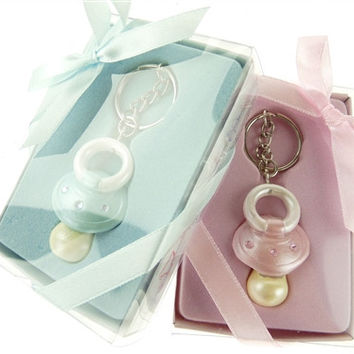 Key Chain Baby Shower Favors, 4-inch, Baby Pacifier, Pink