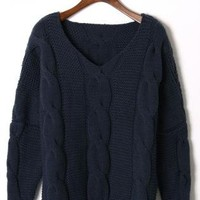 Navy Blue Long Sleeve Cable Knit Sweater with V-Neck