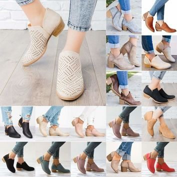 Women Summer Casual Ankle Boots Block Low Mid Heels Stacked Chunky Booties Shoes   1