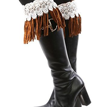 Lace Top With Pearl Brown Suede Fringe Boot Topper Leg Warmer