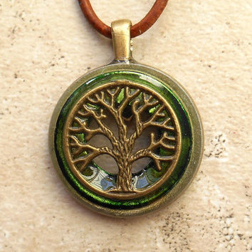 tree of life necklace: green - wiccan pendant - celtic jewelry - tree necklace - elemental jewelry - unique jewelry - the artisan group