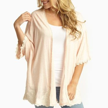 Peach Lace Accent Dolman Sleeve Open Cardigan