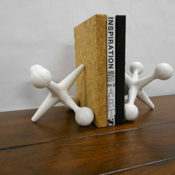 Bright White Mid Century Modern Style Large Cast Iron Jacks Bookends ~ 2 Giant White MidCentury Jax Paperweights Doorstop Shabby Chic Decor