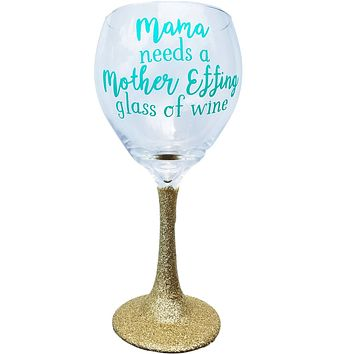 Wine Glass for Moms Gift Funny with Glitter Stem