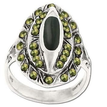Sterling Silver Genuine 32 Marcasite & Onyx 3Tiered Ring